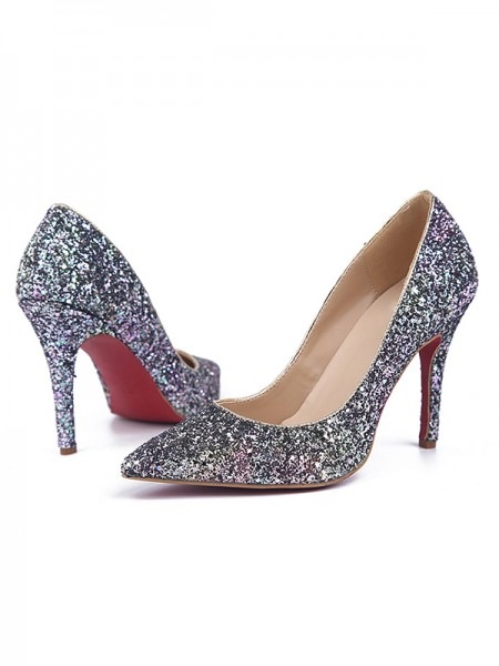 Da donna Stiletto Heel Sparkling Glitter Closed Toe Partito Scarpe