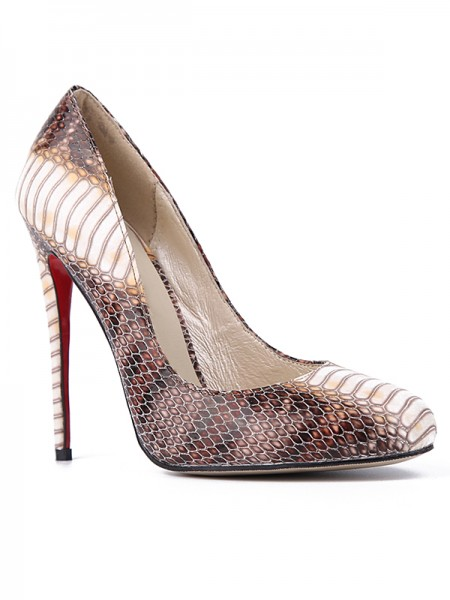 Da donna Snake Print PU Closed Toe Stiletto Heel Partito Scarpe
