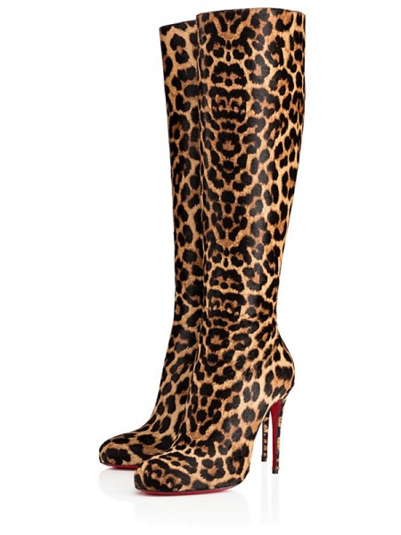 Da donna Leopard Print Horsehair Closed Toe Stiletto Heel Knee High Stivali